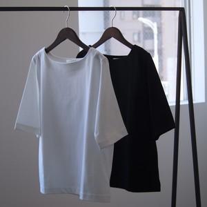 niuhans /  Heavyweight Cotton Boat Neck Tee[WHITE / BLACK]
