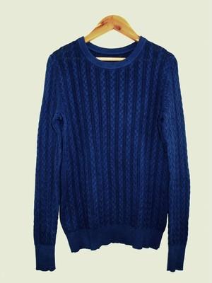 ◆天然灰汁発酵建て 本藍染◆ コットンカシミヤ ケーブル編みセーター