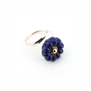 "K10_flower glass_ring ""lapis"""