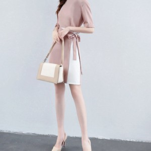 エレガントワンピーススーツ ピンク ラップスカート風 巻きスカート風 タイトスカート 上品 フォーマル オフィス 五分袖 リボン 美ライン