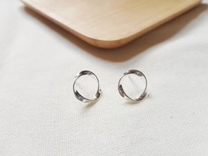 silver925 韓国 アクセサリー シルバー925 ピアス S925 サークルピアス ねじれフープ 韓国ファッション オルチャン シルバーピアス acc0036