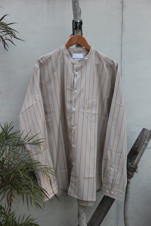 MANUAL ALPHABET / ストライプバンドカラーシャツ