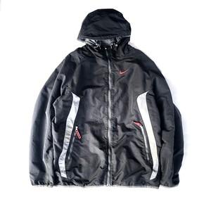 USED NIKE reversible nylon hoodie jacket - black , gray