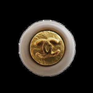 【VINTAGE CHANEL BUTTON】グレーフレーム アンティークココマークボタン 1.2cm C-20058