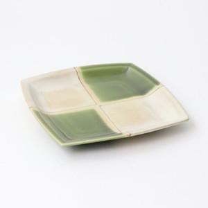【SL-0080】磁器 13.3cm 角銘々皿 抹茶 市松