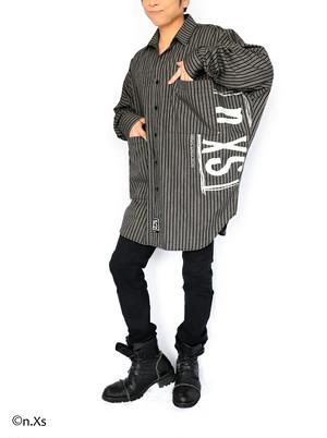 リラックスフィットシャツ  タータンストライプ GRAY MIX