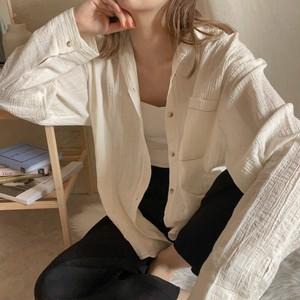 【即納】HaruPLUSmade crinkle shirt mom