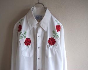 1970's USA製 [Rockmount] 花刺繍 ウエスタンシャツ ホワイト 実寸(M位) ロックマウント