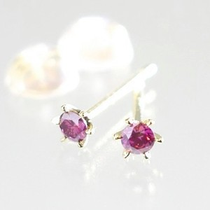 天然パープルピンク ダイヤモンド×K18 6本爪 スタッドピアス