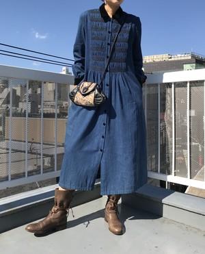 Vintage denim & velour dress ( ヴィンテージ デニム ワンピース )