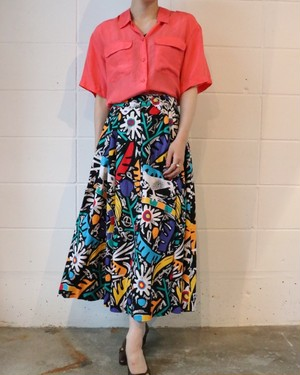 80's colorful long skirt