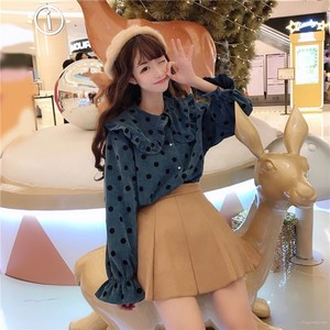 【トップス】キュートパフスリーブラウンドカラードット柄長袖シャツ