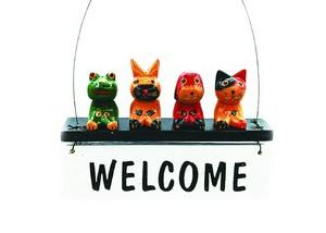 ドアプレート バリ人形 カエルと友達 ハンギングウェルカムボード ホワイト