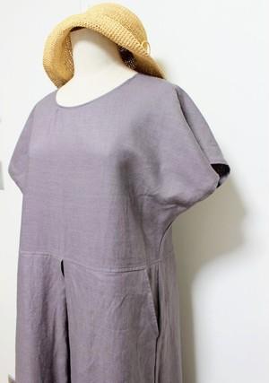 受注製作 お色は選べる9色 カラーリネンのワンピース ボックスタック(ポケット有り)