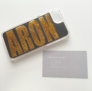 name glitter smart phone cover black