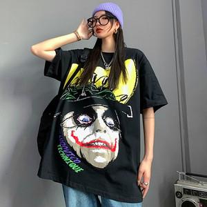【トップス】ストリート系暗黒系ジョーカー図柄プリント半袖Tシャツ27311115