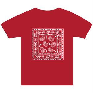 B4° ビヨンド Tシャツ TEE 半袖 半袖Tシャツ バンダナ ビッグ ペイズリー ギャング ブラッズ Bloodz 西海岸 赤×白  ヘビーウェイト フリースタイル ラップ ラッパー MCバトル 862 S M L XL XXL 2XL