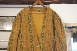 70-80's paisley collarless Jacket