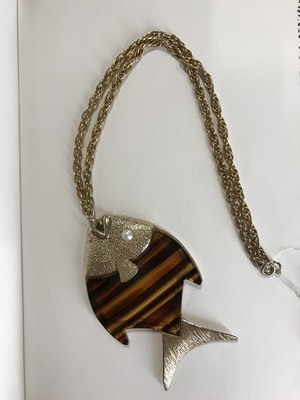 Vintage gold × brown fish necklace ( ヴィンテージ ゴールド × ブラウン 魚 ネックレス