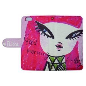 """スマホケース オーダーメイド おはよう桃子ちゃん カードタイプ     smartphone case notebook type """"good morning Momoko"""""""