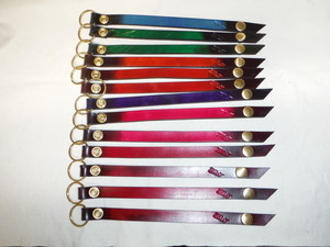 襟巻き&リング型 キーホルダー 手染め染色 4mm厚素材