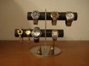 ブラック6本掛け腕時計スタンド 指輪スタンドバージョン(未固定 動かせます) No.140903ー1