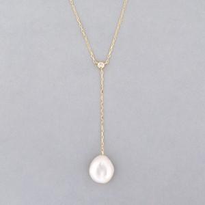 Keshi pearl & diamond necklace