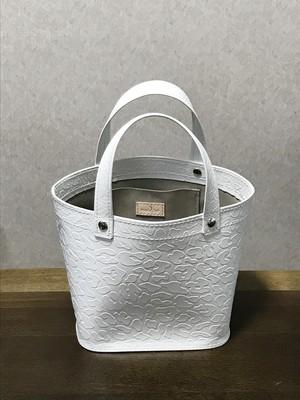 ミニトートバッグ、白レオパード柄