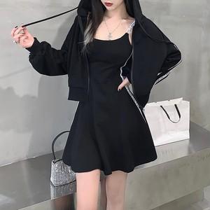 【セット】「単品注文」人気upファッションフード付きパーカージャケット+キャミワンピース33900701
