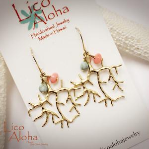 KLAE1 LICO ALOHA リコアロハ、ハワイアンジュエリー、ピアス、珊瑚、ターコイズ、コーラルブランチチャーム、14KGF