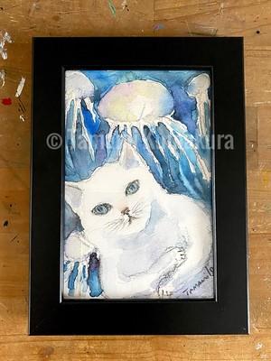 原画「猫とくらげ」ポストカード原画