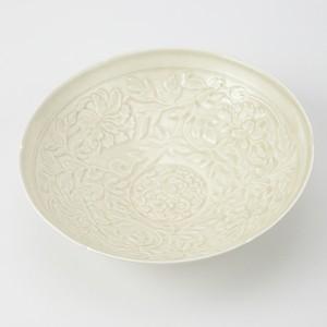 原田譲 -仿定窯白瓷印花牡丹蟠螭紋花口碗-
