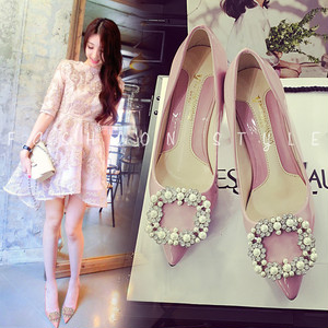 【pumps】 new  rhinestone pearl  buckle Middle heel  pumps