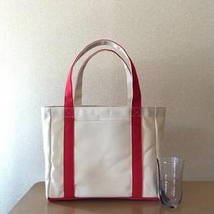 「軽いボックストート」中サイズ「生成り×赤」帆布トートバッグ 倉敷帆布8号