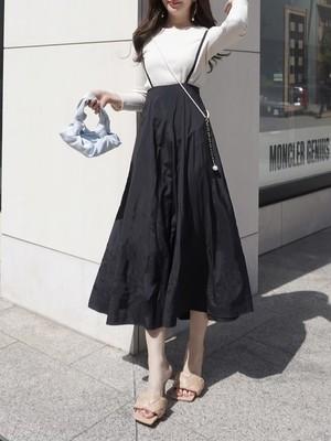 flare jumper skirt / black (即納)