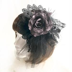 1点物★ヘッドドレス&コサージュ(黒×グレー)