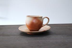 """陶芸作家【大江一人】""""緋襷"""" コーヒカップ&ソーサー """"Hidasuki"""" Coffee cup &  Saucer"""