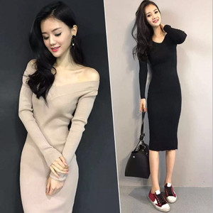 【dress】Simple sweater long skirt female knit dress