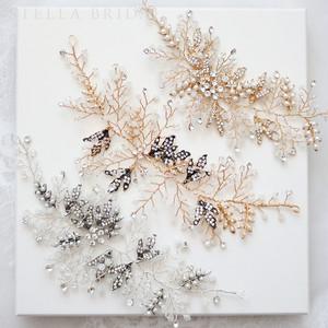 スワロ使用 ホワイトオパールとヴィンテージリーフの小枝ヘッドドレス ジーナ |ウェディングヘアアクセサリー/ブライダルカチューム