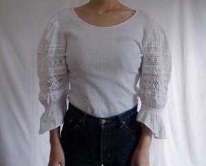 80s White Cotton Lace Stretch Shirt