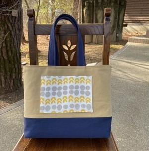 ビンテージカラー(紺+マスタード)の帆布トート