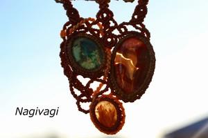 Chrysocolla malachite & Crazylaceagate & Rutilatedquartz macrame necklace