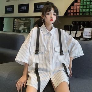 【トップス】新作原宿風ルーズストライプ柄ファッションシャツ