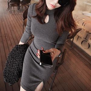 【dress】セクシーワンピーススリット着やせタイトワンピース
