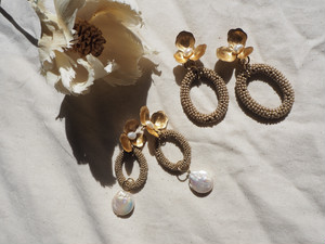 beads ring flower pearl pierce/earring