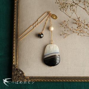天然石とパールの帯飾り《パンダアゲート/A》