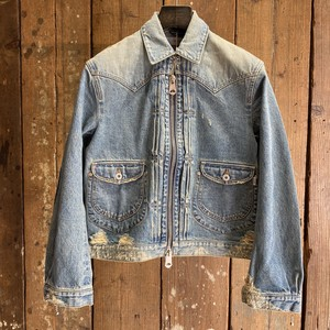 SUGARHILL シュガーヒル / Zip-up Denim Damaged Jacket / Faded indigo / size 2