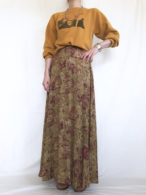 vintage rayon floral maxi skirt
