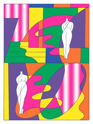 Chou Yi(周依)リソグラフ 作品「黃色點唱機」