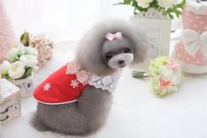 【アウトレット】★かわいい犬服ワンピ/ドレス  スノー柄トップス